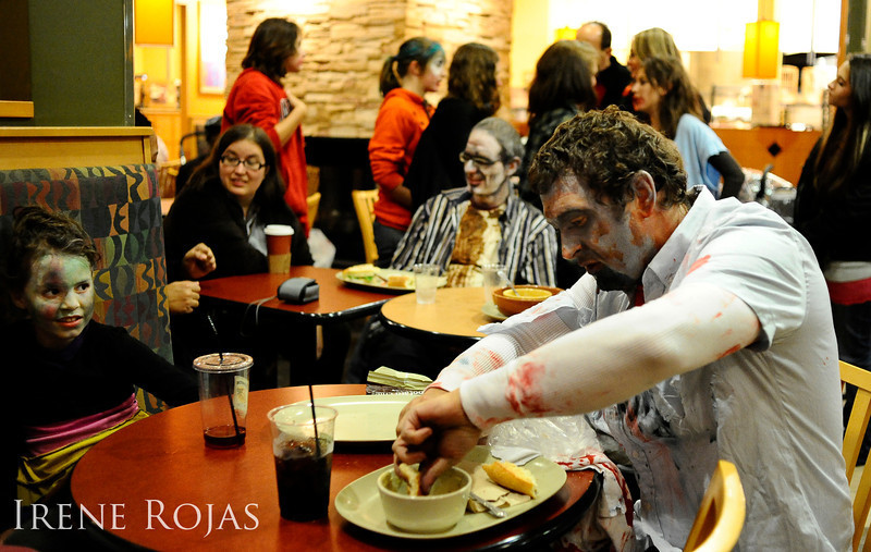 A zombie gets a meal at Panera after the Silver Spring Zombie Walk
