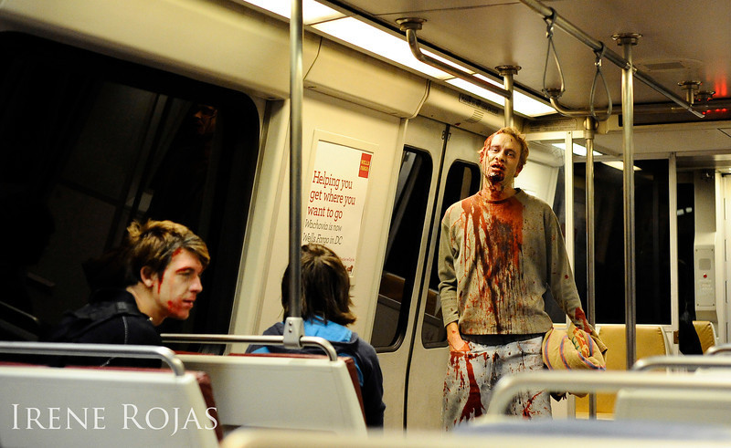 Zombies on the Metro after the Silver Spring Zombie Walk on October 22, 2011