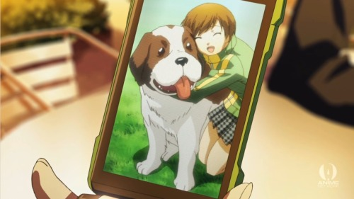 Chie and her Big-Ass dog from Persona 4: The Animation Episode 3.