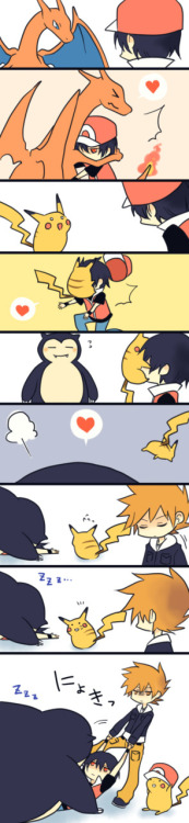 "jubycomics:  ""Bonding"" by 六六 POKEMON  Pikachu. Last panel. Adorable."