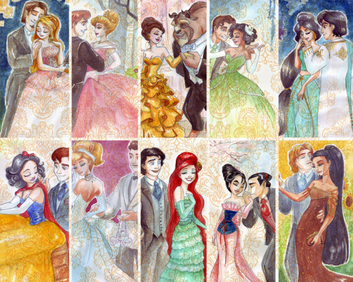 This is so neat, it's all the Disney Princesses and Princes I've grown up drawn in more modern attire. I love the different dress designs and the way the characters have been brought more up to date. It's cool to see the artists interpretation and adaption of the Disney characters, I like how they are presented in a more mature and sexual way.