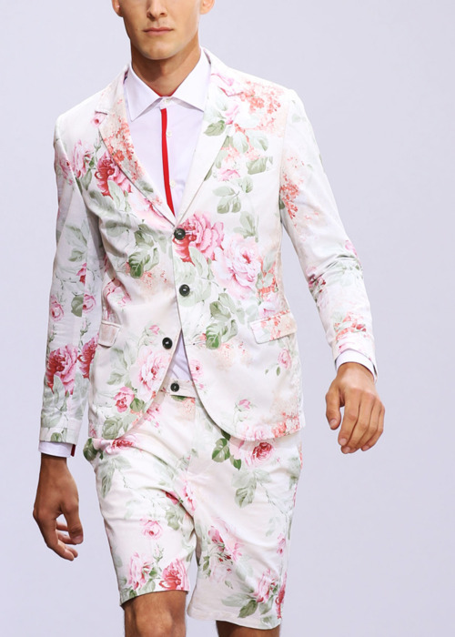 Hahahaa *ahem*. So apparently, Waverly makes menswear now. I know floral patterns are the next big thing in fashion, but this is…um.  I have no words.Just…silence.  Flowery, stunned silence. Do you think he's wearing socks? I mean, if you're already hitting completely abusurd on all levels by wearing pink rose floral head to, uh, knee, then what on earth do you put on your feet? I'm going to suggest whimsical wedges in a neutral leather. If only they came in Men's sizes…
