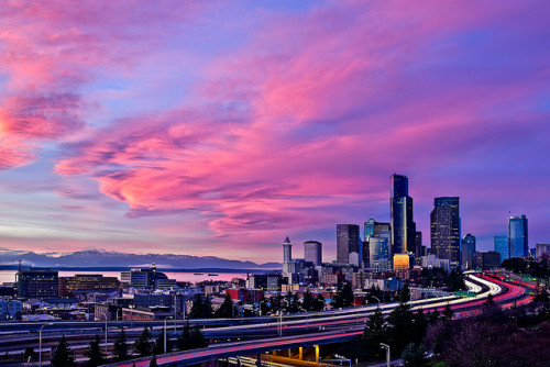 malism:  City in Pink by Surrealize on Flickr.  Always with the Epic sunsets in Seattle.