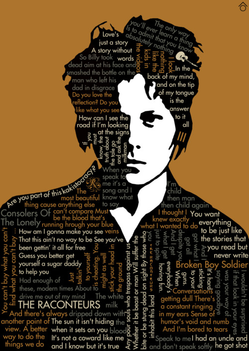 Jack White, his Raconteurs albums and lyrics, minimal poster made by me (Santiago Otálora ô)