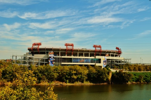 LP Field, home of the Tennessee Titans, as seen from 1st Avenue Downtown Nashville with the Cumberland River running through the middle.
