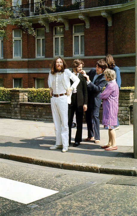 The Beatles before their famous walk across Abbey Road