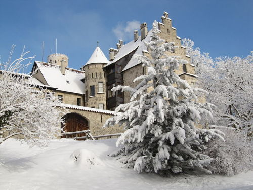 Schloss Lichtenstein (Lichtenstein Castle) in the deep snow, located in the Swabian Alb, Baden-Württemberg, Germany This is not far from home, why have I not been here yet?