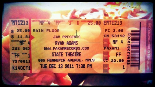 I got my ticket to see Ryan Adams in the mail. I'm so excited for this show. I haven't seen him since he opened for Oasis with The Cardinals in '09. Supposedly, these shows are solo, which I happen to think are the best. There's definitely something to be said about a man with a guitar singing stripped-down songs. Intimate = best.
