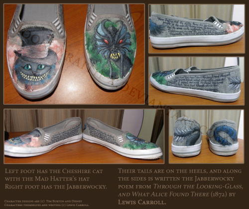 Alice in Wonderland shoes by *Moon-wraith-x