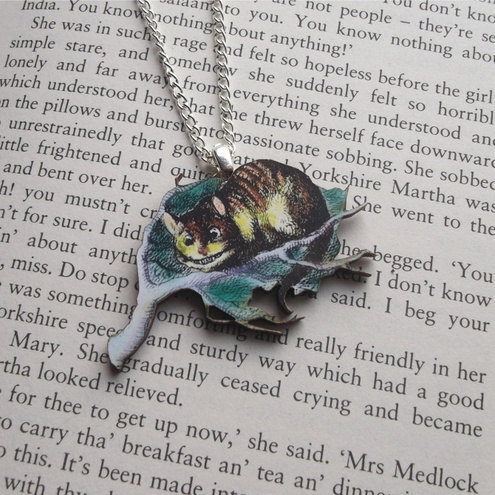 Alice in Wonderland Cheshire cat Necklace Click through for Etsy Page