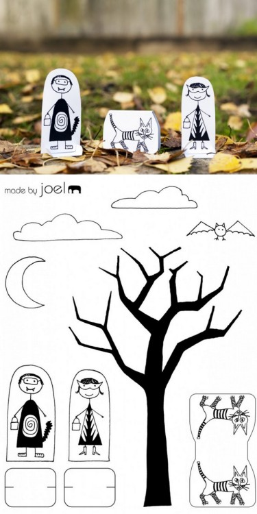 DIY Free Download of: Paper Trick or Treat Halloween from Made by Joel. On his site he has dioramas where you can see the hanging cloud, bat and moon - really cute but the photo was too tiny to post. Download at Made by Joel here. *Also fun are the Paper City Paris here and Dressy Cats here.