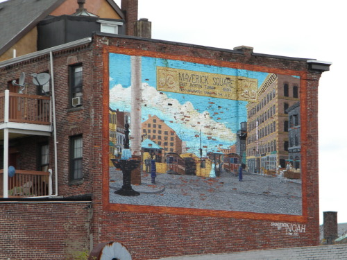 Mural in Maverick Square, East Boston.