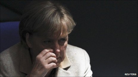 Angela Merkel burnt her tongue on her tea and then left it too long and it went cold.