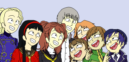 Cast of Persona 4 laugh at something.
