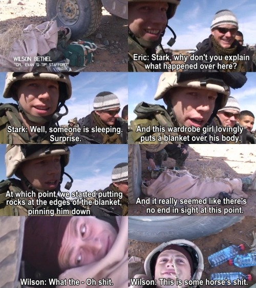 "jacobpittslovelyface:  ""Just another day at Generation Kill buddy, trying to pass the time."" - Eric Ladin"