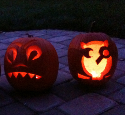 theycallmebruce:  Pumpkin carving with friends. Will's is on the left and mine is on the right.  Ok, fine. Bruce's owl pumpkin looks great. And I'm not competitive or anything, but anybody can carve a kick ass creative jack-o-lantern when they print out jack-o-lantern carving templates online. I prefer traditional, freehand pumpkin art.