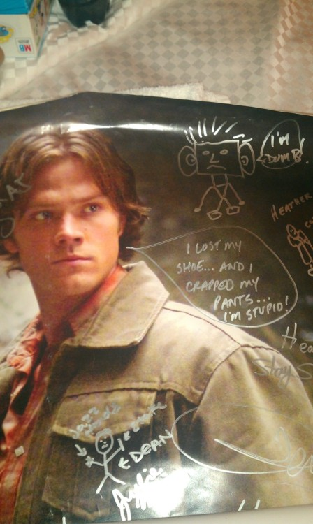 "Epicness at its finest. (""im dumb"" courtesy of Jared Padalecki, talk bubble by Jensen Ackles)"