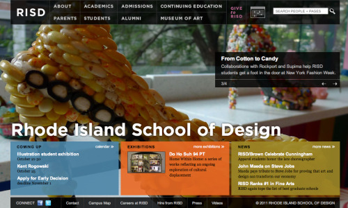 Rhode Island School of Design - Uses every pixel of the browser to engage the visitor with art and action items. The page is also completely resizable based on the visitors viewpoint. Just try to resize your browser and watch the page adjust.