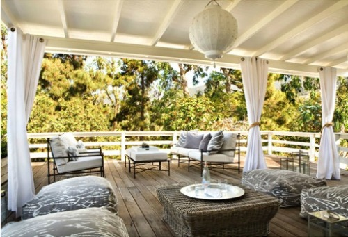 Beautiful deck for a beach house in the Pacific Palisades, designed by Kristen Hutchins.