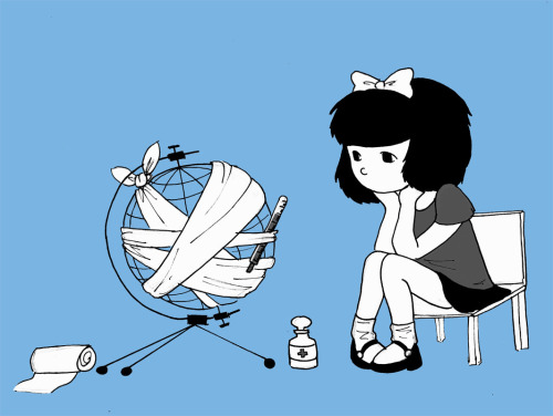 le-aristocat:  tinysillycaptain:  the world is sick. (I'm re-reading Mafalda. I'd forgotten how much I loved her. If you haven't read it THEN YOU SHOULD)  ^ estoy cada día más enamorada de esta pequeña mujersh <3