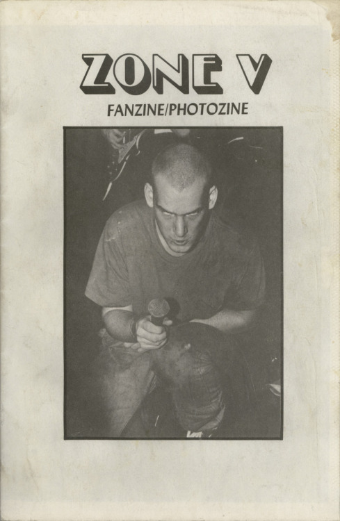 "A new PDF is available for download from Public Collectors: Zone V Fanzine/Photozine, issue 1, 1983, 48 pages, Jim Saah, Wheaton, Maryland, 7 1/2"" X 11"". (Click the cover to download: 53.5 meg PDF file) This is the first of a total of two issues of Zone V that were published. This offset 'zine has a spare layout that is packed with Jim Saah's excellent photos of some of the greatest American hardcore bands of this period. Bands included are: Black Flag, Minor Threat (see cover), Hate from Ignorance, Insurrection, Heart Attack, Naked Raygun, Marginal Man, Faith, Void, Flipper, The Meatmen, Circle Jerks, Channel Three, Government Issue, Nig-Heist, Negative Approach, and Scream. Also included are interviews with Henry Rollins from Black Flag and Tesco Vee of The Meatmen, a New York scene report written by Thurston Moore of Sonic Youth, Detroit and Los Angeles scene reports, and a Minor Threat family tree."