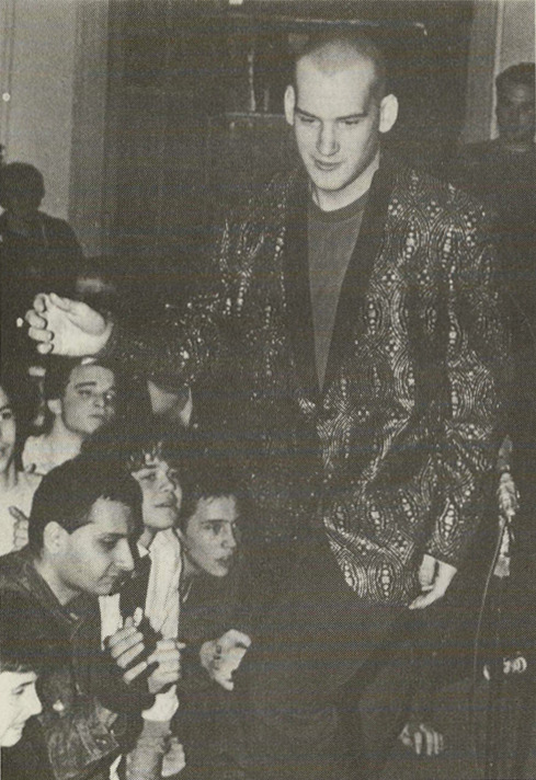 Ian MacKaye of the band Minor Threat, looking particularly dapper in this photo by Jim Saah from Zone V Fanzine/Photozine, Wheaton, Maryland, 1983. Download a PDF of the entire issue here.