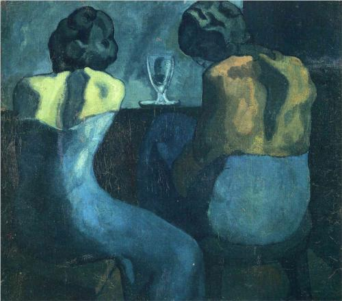 lacontessa:  Pablo Picasso, Two Women Sitting At a Bar, 1902. —via thepowerofart  The Blues on Fresh Air: Deep Blue Organ Blue Valentine BB King Hill Street Blues