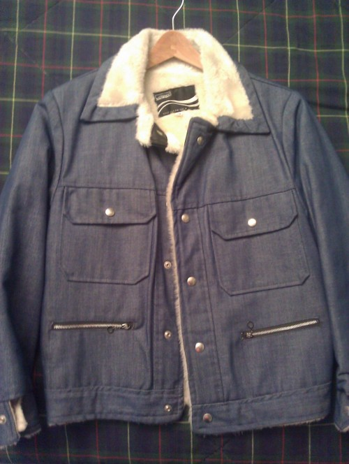 For sale:  vintage denim, moulton collar jacket.  Fits like a size small. Just listed this, along with other goods such as Versace leather & suede shoes, a Giorgio Armani suit and Hermes & Yves Saint Laurent ties.  Check 'em HERE or click the photo.