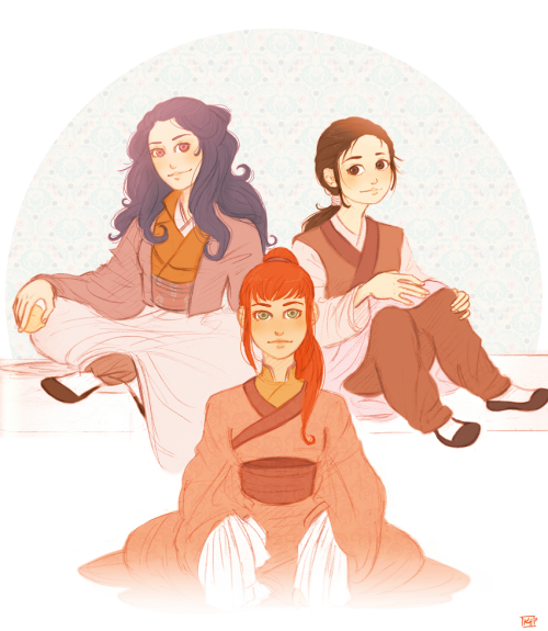rosesdrawings:  Shoukei, Yoko and Suzu. Also known as TEAM AWESOME.