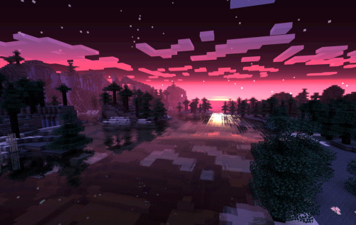 sheminecrafts:  <3  Okay, so… I recognise the pretty reflective water mod.. But what's making the sky so pink?! Mine is always orangey red! I feel out of the loooooop. D|