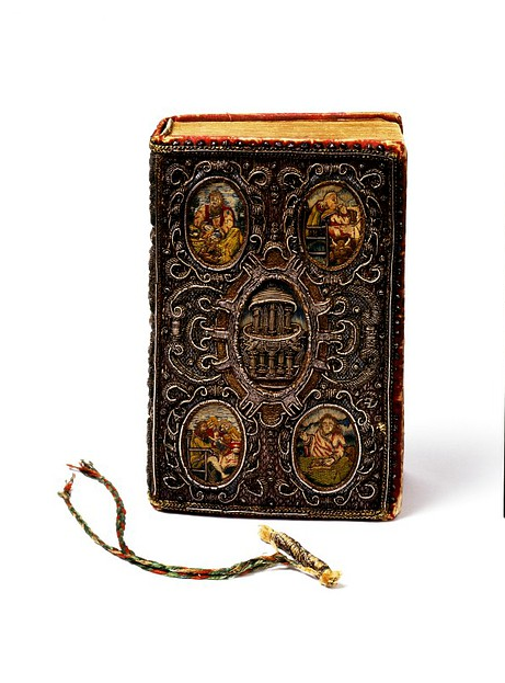aubade:  Book cover and book mark, London, ca 1634. Satin covered board, embroidered with silver, silver-gilt-thread, purl and coil, and coloured silks, and plaited threads.
