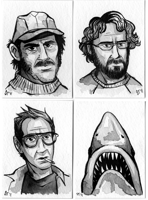 "200 Portraits- 31 horror portraits for EVERY DAY of October - - Jaws - #118 - Quint#119 - Hooper#120 - Brody#121 - Great White Shark aka Jaws I have to step it up. Halloween is a week away and I have 15 more portraits to post. I've saved some of my favorites for last…so, expect a post a day until next Monday. Today I've posted portraits from not only one of my favorite genre movies…but one of my favorite movies in general…ever. Not sure what this whole portrait project is about? Read about it here. Ink-wash   on watercolor paper using Winsor & Newton series 7                                   Brushes and Speedball Super Black   Waterproof       India      Ink.      2.5""  x   3.5"""