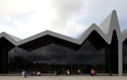 The new Glasgow Transport Museum. The building is designed by Zaha Hadid Architects.