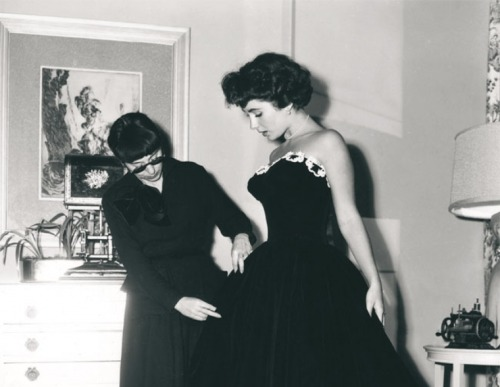 Edith Head and Elizabeth Taylor.