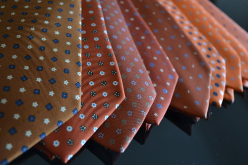 A selection of orange E. Marinella ties soon to be listed on www.malfordoflondon.com