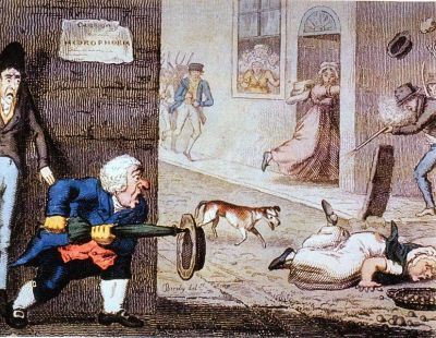 """Mad dog"" This 1826 cartoon depicts a ""mad dog"" in the London streets, attacking people. You can note the ""Hydrophobia!"" warning posted in the upper left-hand side of the caricature. Rabies was definitely a thing people wanted to avoid, and was especially terrifying because they didn't understand anything useful about the virus. All they knew was if you got bit by a mad dog, you had less than a year before you went dumb or manic and then ended up dead, yourself…at least if your bite wound didn't get infected and kill you before then!"