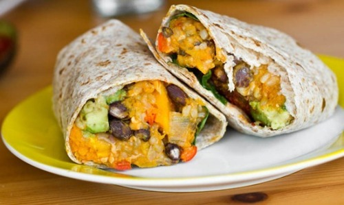 These vegan black bean and butternut squash burritos look delish.