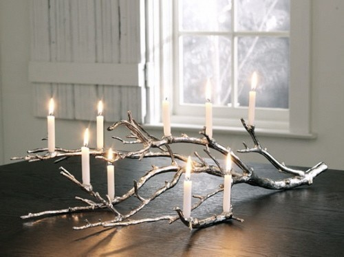 Tree branch candle holder. So lovely! this image via mydoodledays