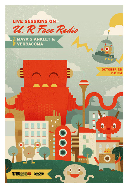 here's a nifty little radio gig poster i made for my friends at rogue productions :D (it's somewhat inspired by the evil pink robots in that awesome flaming lips song, 'xcept the giant robot here isn't pink nor evil. so there's no need for yoshimi to do all that saving!) anyways! please support the local music scene and tune in to UR faceradio on RJ (100.3 fm) this friday at 7 pm! maya's anklet and verbacoma are performing :)