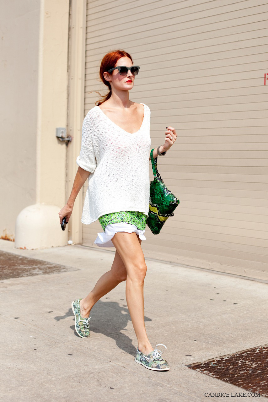 Taylor Tomasi Hill, Rag and Bone, NY, SS 12 Perhaps its the effortlessness to this outfit.  The pop of white under and over the neon Proenza Schouler skirt.  The cool and understated use of Python in the flat lace ups and bag.  The contrast of the green to her red hair and lips.  I have never known an editor to get it more right… When I grow up, I want to be as cool as Taylor.