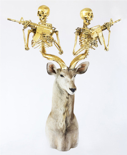 "Peter Gronquist, The Evolution Will Be Fabulous ""Untitled (Greater Kudu)"" mixed media 58 x 76 x 32 inches"