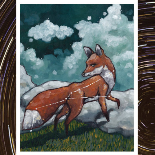 "Vulpecula seeks to earn his reputation as the sly old fox.""Vulpecula"" represented by the red fox, is the third in the new series of paintings, ""Constellation Fauna""."