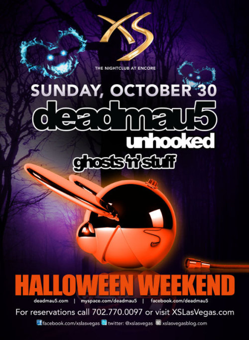 ~ Halloween Week(end) ~ Monday: Steve Aoki @ XS Eric D-lux @ Marquee  Tuesday: DJ Lema @ Lavo Hair Wars Sci-Fi Edition @ Moon  Wednesday: Nervo @ Surrender Twista @ LAX  Thursday: Manufactured Superstars Cosmic Halloween @ Tryst Taolloween @ Tao Hot Challe Rae @ Haze Joe Manganiello from True Blood @ Moon  Friday: Avicii-Fallen Angels @ XS Afrojack @ Surrender Mythical-Fairy Tale Masquarde Party @ Tryst Benny Benassi @ Marquee Dash Berlin @ Tao Laidback Luke @ Haze Yolanda Be Cool @ The Bank Jwoww-Pimp 'N Ho @ Chateau Nik Ritchie-Dirty Halloween @ LAX AnnaLynne McCord @ Pure Yelawolf @ Rain Cirque de Stylz @ Moon  Saturday: Axwell-Dead Hollywood @ XS Dada Life @ Surrender Angel Porrino Hosts Angels & Devils Costume Party @ Tryst ATB @ Marquee Heidi Klum's Halloweeen Party @ Tao Champagne Brunch @ Lavo Marilyn Manson @ The Bank Flo-Rida @ Haze Paul Oakenfold/Scott Disick @ Chateau Bridget Marquardt @ Gallery Ice T & Coco-Player's Ball @ LAX Snooki @ Pure Tiesto in Concert @ The Joint DJ Pauly D-Night of the Killer @ Rain   Sunday: Deadmau5-Unhooked @ XS Lupe Fiasco @ The Bank  Monday: Afrojack-House of Horrors @ XS Lil Jon @ Surrender  Kaskade @ Marquee Ludacris @ Haze