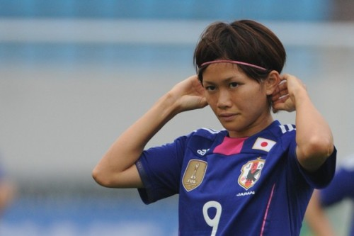 Nahomi Kawasumi #9 of Japan looks on during the London Olympic Women's Football Asian Qualifier match between Japan and Thailand at Shandong Sports Center on September 1, 2011 in Jinan, China. (via Photo from Getty Images)
