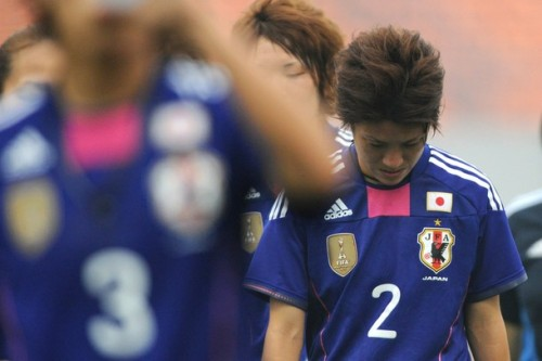 Yukari Kinga #2 of Japan reacts after the London Olympic Women's Football Asian Qualifier match between North Korea and Japan at Shandong Sports Center on September 8, 2011 in Jinan, China. (via Photo from Getty Images)