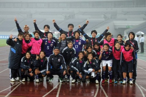 Japan team celebrate the win after the London Olympic Women's Football Asian Qualifier match between Japan and China at Jinan Olympic Sports Centre on September 11, 2011 in Jinan, China. (via Photo from Getty Images)