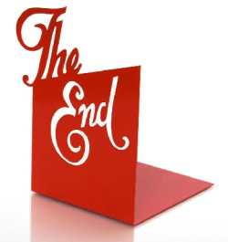 "eyeing this ""the end"" book end. it's a must have."
