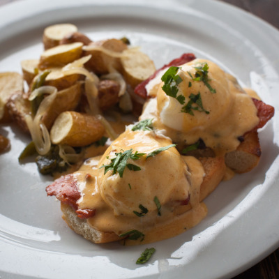 Eggs Benedictine at Restaurante Doña Tomás. Enjoy their Mexican-style brunch on Saturday and Sunday from 9:30 a.m. to 2 p.m.