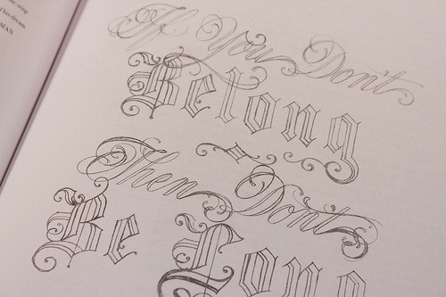 Magculture - pencil-drawn headlines from Mike Meiré (actual tattoo designs from my favorite artist, Scott Campbell)
