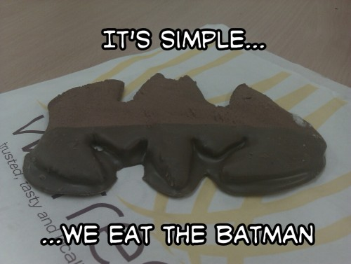 "habitualfilms:  I eat superheroes for breakfast… (well lunch anyway)..  ""It's simple… we eat the Batman"""
